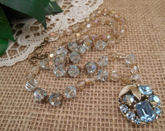 Vintage Aquamarine Crystal Pendant ~ Pale Azore Blue and Champagne Crystals ~ Boho Long Necklace