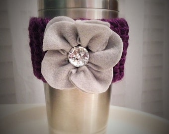 Knitted Plum Coffee Sleeve with Flower