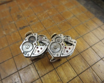 Bulova 6AM Watch Movement Cufflinks. Great for Fathers Day, Anniversary, Groomsmen or Just Because.  #371