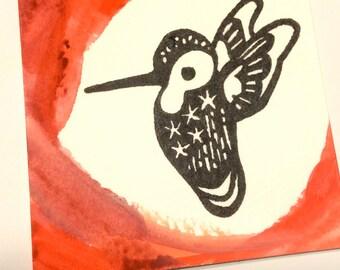 Hummingbird Altar Card ATC Animal Medicine Piece Birds Spirit Art Watercolor