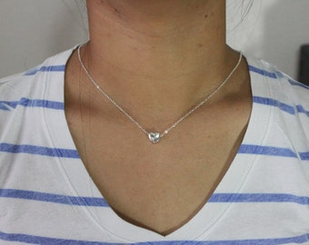Sterling Silver Heart Necklace, Simple Heart Love Jewelry, Silver Heart Pendant Necklace, Love Gift Y069