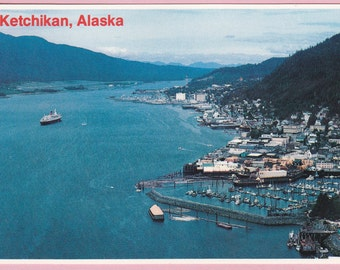 "Large ""Ketchikan, Alaska"" Topographical Picture Postcard - 290"