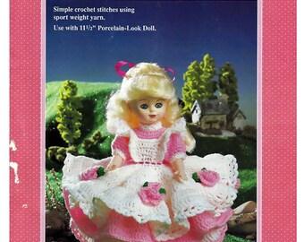 "Amy  for 11 1/2"" Porcelain look  Doll Crochet  Pattern Fibre Craft  FCM240"