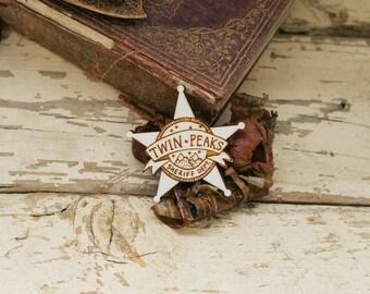 Twin Peaks Sheriff Brooch, Laser Cut Plywood Badge, Plywood
