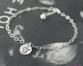 Tiny initial bracelet, personalized bracelet, minimalist jewelry, silver initial, monogram letter, stamped bracelet