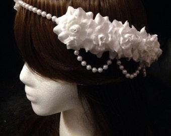 Pre-Order White Rose Pearl Band Goddess Flower Crown Headband