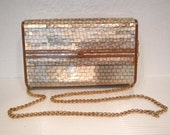 Art Deco Italian Lucite Plastic Mosaic Tile Clutch Purse Handbag with Chain Seoul Trading Italy