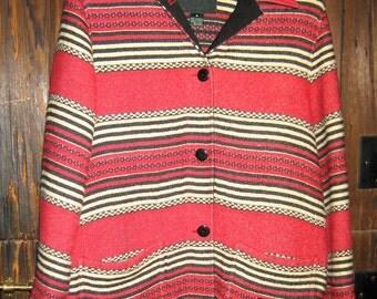 Vintage Ralph Lauren Blanket coat red stripe size M
