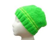 Kids Knit Hat, Beanie Cap, Neon Green, Boys Hat, Girls Hat, Mens Beanie