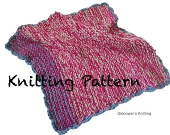Quick Knit Baby Blanket PDF Knitting Pattern, Easy Beginner Knit, Worsted Yarn, Multiple Sizes, Garter Knit Stitch