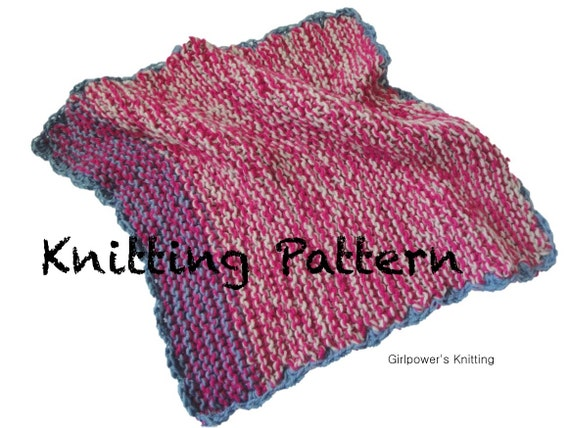 Quick Blanket Knitting Pattern : Quick Knit Baby Blanket PDF Knitting Pattern Easy Beginner