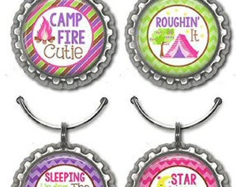 Camping Wine Glass Charms Party Favors Retirement Camping