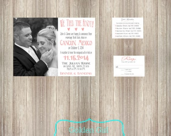 Wedding Reception Invitation with Photo, Destination Wedding Reception Only Invitation, RSVP, and/or Guest Information-Print Your Own