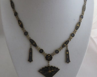 1950's Japanese Damascene Vintage Necklace 24K