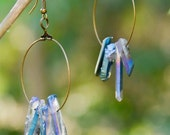 Amethyst, Citrine, Natural Brown, Blue Mystic Rainbow, Clear White Quartz Crystal Points, Large Bronze Hoop earrings.