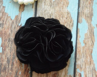 Black Flower, Bridal Hair Accessories, Wedding, Hair Clip, Hair Ornament, Women, Bridesmaid, Flower Puff, Hair Piece, Hair Flower, Brooch