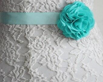 Aqua Bridal Sash Belt, Wedding Flower Belt, Turquoise, Mint Green, Flower Girl, Bridesmaid, Belt and Sashes, Tieback headband