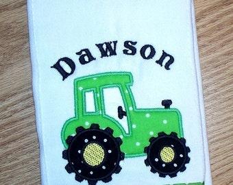 Tractor Baby Boy Burp Cloth Green Farm Tractor Personalized