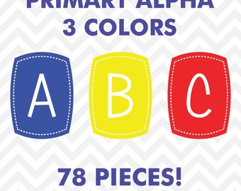 60% OFF SALE Clipart Digital Alphabet Primary Color Letters Clip Art