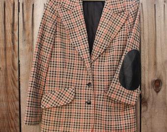 Plaid Coat Leather Elbow Pads Retro Mod Butte Knit Jacket Womens Clothing Vintage 1970s 70s (CL)