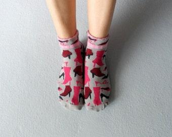 Boot Socks Women Socks Ankle Socks Ladies Socks Gray Socks Printed Socks