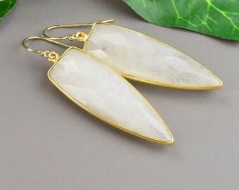 White Earrings - Gemstone Earrings - Dagger Earrings - Long Dangle Earrings - Moonstone Earrings