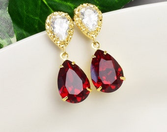 Red Crystal Earrings  Swarovski Earrings for Bridesmaids  Ruby Red Earrings Gold  Bridal Earrings  Wedding Jewelry  Bridesmaid Jewelry