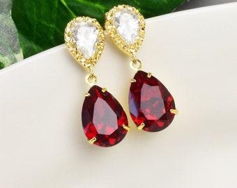 Red Crystal Teardrop Earrings - Swarovski Crystal Earrings -Gold Red Bridesmaid Earrings - Cubic Zirconia Bridesmaid Jewelry - Wedding