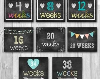 Pregnancy calendar countdown, chalkboard printable, pregnancy stats, photo prop, 33 files, bundle set