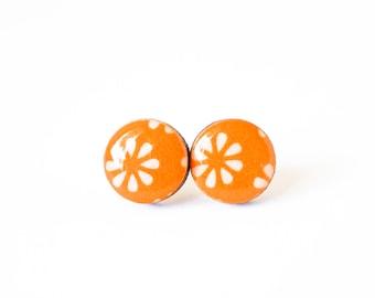 Orange Japanese stud Earrings, Japanese pattern, Washi Tape Earrings, Resin, Decoupage, Wood, Gift under 10