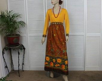 Vintage Futura Couture Long Hostess Gown / Dress Autumn Colors Size S/M
