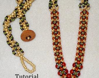 PDF Beading Tutorial, Beadwork Necklace Tutorial,PDF Necklace Pattern,Beadwoven Jewelry, Seed Bead Tutorial, PDF Beadwoven Pattern, Beadwork