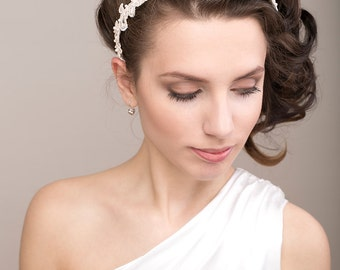 Bridal lace headband, pearls lace headband, floral bridal headpiece