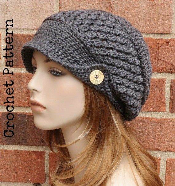 Free Crochet Pattern Beanie With Brim : CROCHET HAT PATTERN Instant Download Pdf Finley Newsboy
