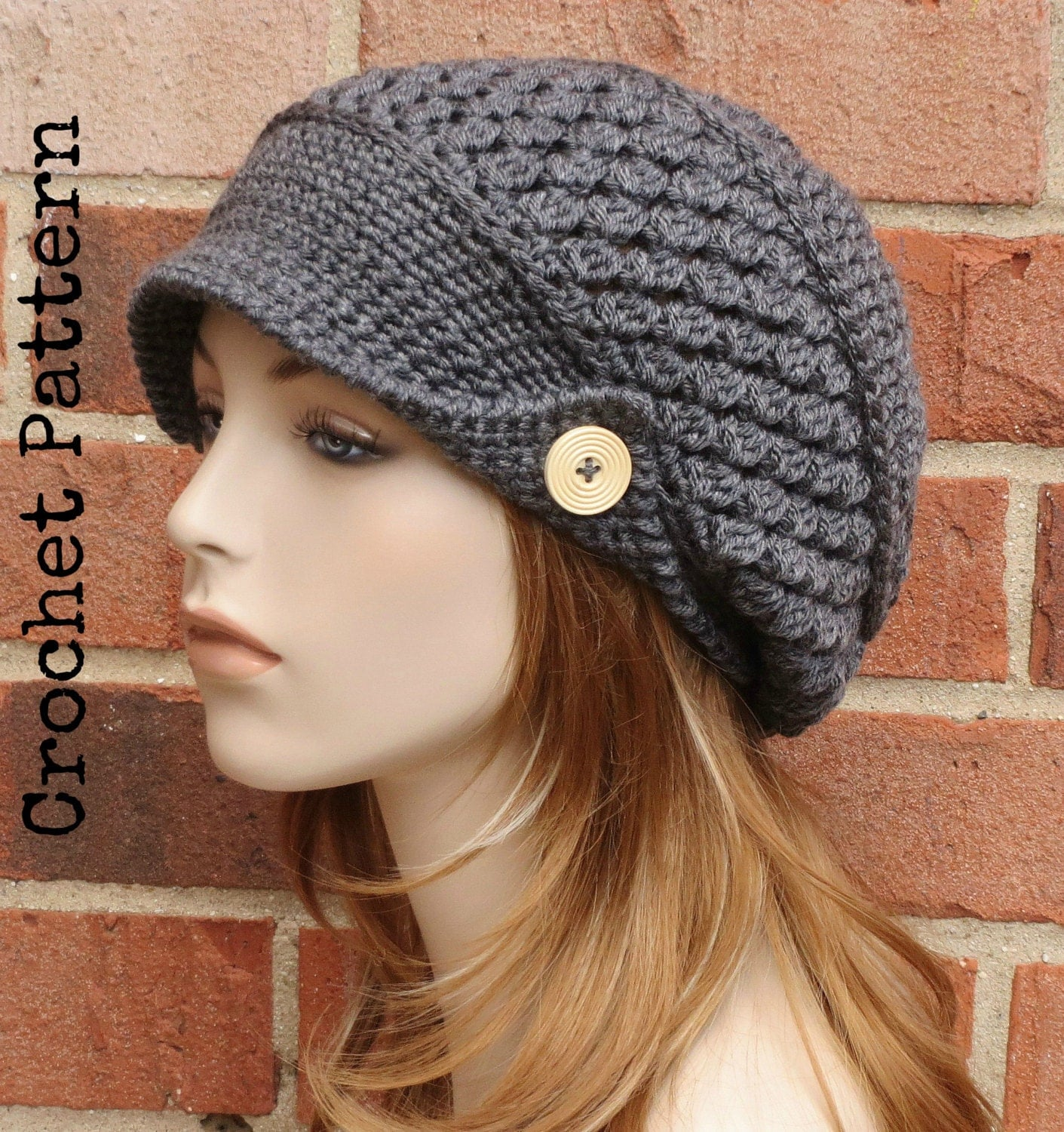 Crochet Pattern Mens Hat With Brim : CROCHET HAT PATTERN Instant Download Pdf Finley Newsboy