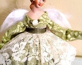 Victorian Angel Tree Topper Soft Pastel Green with Ivory Lace Home Decor Porcelain OOAK Doll