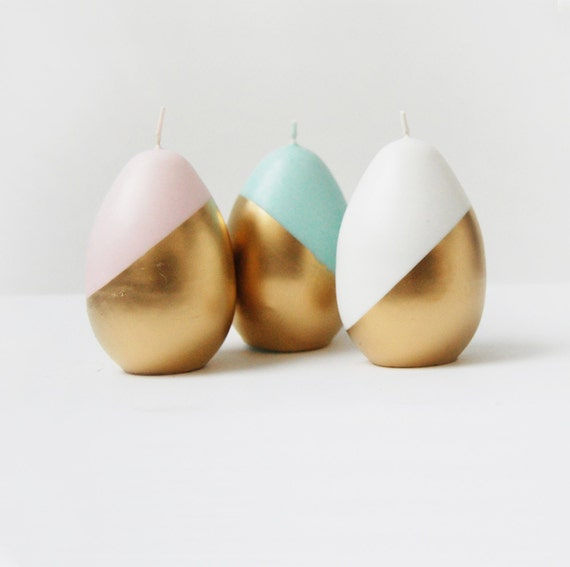 Handmade Gold Painted Candle, Candle Egg or Ball Candle, Metallic Decor, Pastel Color Half Painted in Gold, Modern Gift