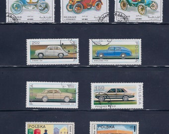 ON SALE Automobiles (2A) - Vintage Stamps - 1960, 70s
