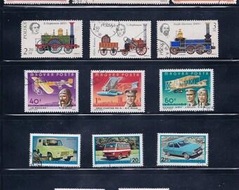 Stagecoaches, Trains, Planes, Automobiles Vintage Stamps 1960-70s - Transportation