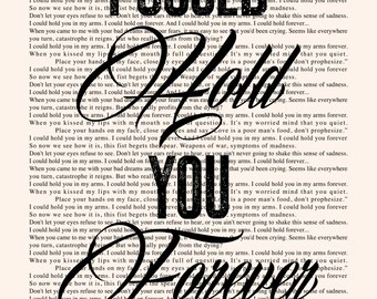 Hold You In My Arms - Book Page -- Ray Lamontagne Lyrics Poster print, studio wall art, distressed typography print