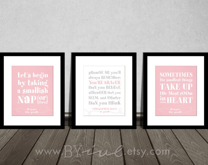 Winnie the Pooh quotes, You are BRAVER than you believe, Nap time, Baby girl gift, Nursery DIY Printable.