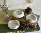 Vintage Pine Cone Ashtray Set. White Porcelain China Made in Japan. Gold accents. Home Decor, Candles, Mad Men Smoking ;) Cute Planters?