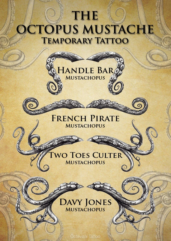 Mustache temporary tattoo moustaches movember by octaviatattoo for Mustache temporary tattoos
