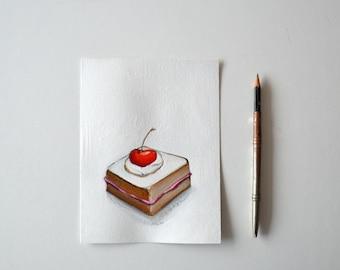 Original Illustration Cherry Cake on paper -Lunch,cherry,dessert, original art, realist art,art,figurative art painting by Cristina Ripper