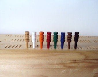 Cribbage Pegs - Set of 4 - Wooden Hardwood - Cribbage Board - Colored Pegs