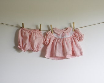 Pink Strawberry Baby Swing Sundress with matching diaper cover/bloomers// 0-6 months