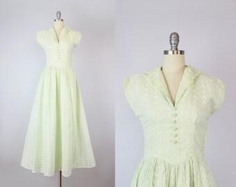 vintage 40s eyelet cotton maxi dress / vintage 1940s maxi dress / cotton eyelet sundress / basque waist / green spring eyelet dress