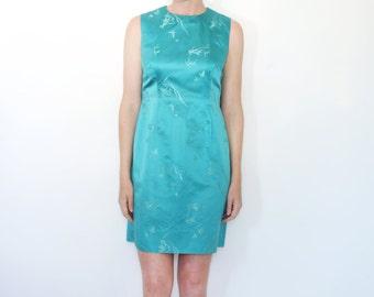 Vintage Asian 60s Silk Brocade Satin Shift Dress Made in Hong Kong Volup Plus Size