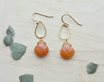 Orange Jade Earrings Teardrop Briolette Dangle Earrings Stone Jewelry -  T101