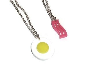 Eggs and Bacon Necklaces, Cute Quirky Best Friend Laser Cut Pendants, Fry Up, Breakfast, Food, Kitsch
